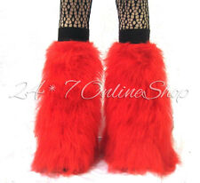 Red Neon Fluffy Valentines Day Legwarmers Boot Covers Dancewear
