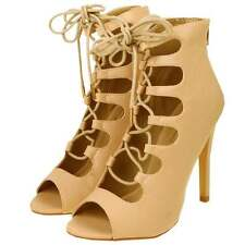 Nude Leather Look Cut Out Lace Up Stiletto Heel Peep Toe Sandal Boots Shoes