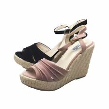 Ladies Suedette chunky wedge heel sandals with open toe and ankle strap