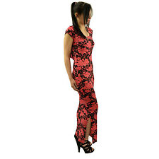 Womens Ladies Coral Floral Lace Trim Maxi Dress