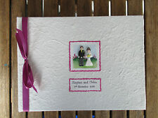 Personalised Wedding Photo Album / Scrapbook - Handmade Fimo Bride and Groom