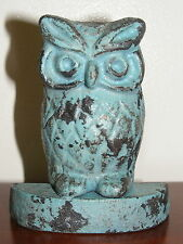 Cast Iron Door Stop Rustic Ornament Country Door Wedge Owl AQUA SECOND CI56