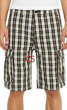 NWT $50-Mens Levis Ace Graphite Gray Plaid Relaxed Fit Cargo Shorts-size 29 & 40
