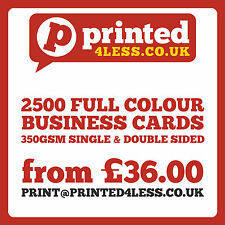 2500 BUSINESS CARDS PRINTED FULL COLOUR 350GSM SINGLE DOUBLE SIDED FLYERS 350