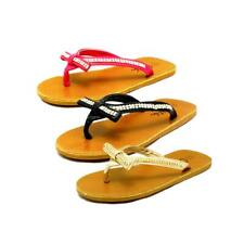 Girls faux leather diamante studded bow front flip flops sandals