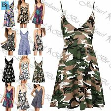 Womens Ladies Summer Printed Strappy Wrap Over Swing Mini Skater Dress Plus Size