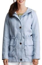 Lands End Pale Blue Heavy Linen Long Line Hooded Jacket with Drawstring Waist