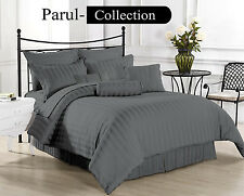 600-800-1000-1200TC Grey Striped 1000TC 100% Egyptian Cotton US Bedding All Size