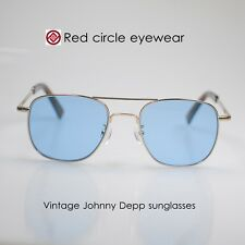 Retro vintage aviator sunglasses frame Johnny Depp metal frames blue glass lens