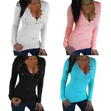 Womens Long Sleeve Blouse Loose Cotton T Shirt Casual Tops Ladies Shirt H4V4