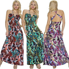 Ladies Maxi Dress long patterned One Size Fits All 36 38 Party Club top