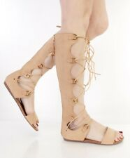 Beige Knee High Lace Up Gladiator Sandal Flat Heel Open Toe Strappy Back Zipper