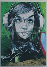 Green Graffiti Girl Headphone [60x90] Graffiti art Modern urban Giclee canvas