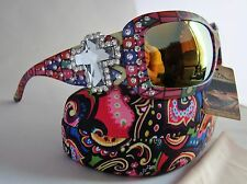 MONTANA WEST Sunglasses Tribal Aztec Rhinestone Cross Concho Cowgirl Case Cloth