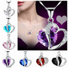 Double Heart Crystal Rhinestone Silver Plated Chain Pendant Necklace Jewelry CIT