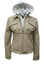 New Ladies Beige Hooded Biker Style Motorcycle Soft Napa Italian Leather Jacket