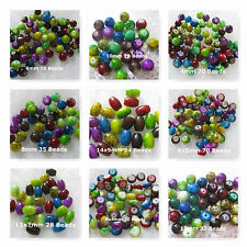 Glass Marbled Jewlel Tone Color Beads 4-14mm Round Oval Rondelle Spacer Beads