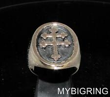 OVAL BRONZE MEN'S SIGNET RING FRAMED CROSS LORRAINE MEDIEVAL ANTIQUED ANY SIZE
