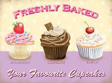 Freshly Baked - Your Favourite Cupcakes Tin Sign Retro Decor Wall Art Cafe Bar