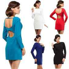Bodycon mini dress with plunge back + 5 colours + Size 8-14