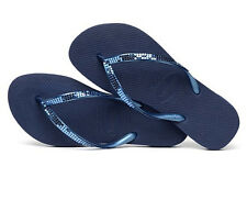 Havaianas Women`s Flip Flops Slim Metal Mesh Navy Blue Special Collection NWT