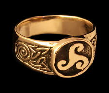 Celtic Seal Ring Triskele Spirals and Knot the Trinity Bronze