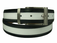 New Men's Marco Valentino Italy Dressy Belt Black White Leather Silver Buckle