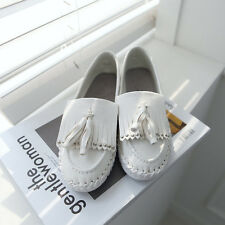 Women's chic white synthetic leather round toe fringe tassel stud flats loafers