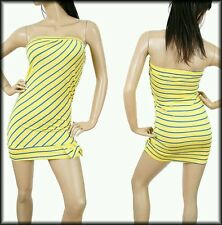 Yellow Stripes Strapless Mini Tube Dress