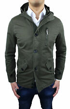 MEN'S JACKET PARKA SLIM FIT MILITARY GREEN JACKET TRENCH PARKA S M L XL XXL