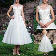 Classical White or Ivory Tea Length Wedding Dress Bridal Gown Size 6+++18