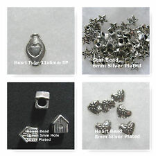Spacer Beads Heart Star House Beads Silver Plated Jewelry Beads