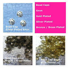 Bead Caps 6mm Silver Gold Brass Plated Jewelry Findings Supply Bead Art