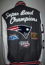 New England PATRIOTS 3 TIME SUPER BOWL Championship Wool Leather Jacket MED XL