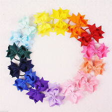 "2016 wholesale 6/9/12/15pc Girl baby solid ribbon 3"" Hair Bows elastic E007-1-15"