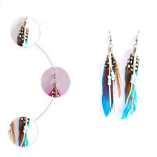 Exquisite Bohemian Style Feather Leather Beads Tassel Charm Dangling Earrings