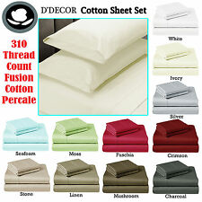 Quality 310TC COTTON 4 Pce Sheet Set - SINGLE King Single DOUBLE QUEEN KING