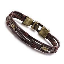Mens Vintage Leather Wrap Brown Braided Rope Beads Charm Cuff Bracelet Wristband