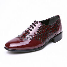 Men's snake embossed pattern wine wingtips lace up oxfords dress shoes US6-10.5