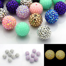 100pcs Chunky Resin Rhinestone Bubblegum Ball Beads for DIY Jewelry Making