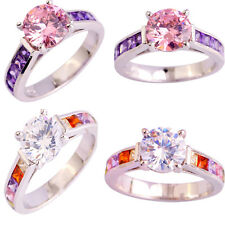 Women White & Pink Topaz & Amethyst Round Cut Gemstone Silver Ring Size 6 7 8 9