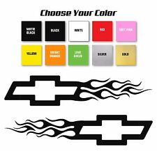 Chevy Bowtie Flame Style Logo Right & Left car decal stickers/ Pick Size & Color