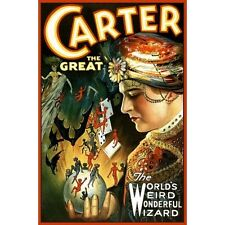Carter The Great Magician Wizard Illusionist Jinns Magic Poster New Reproduction