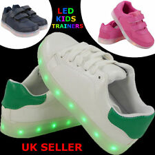 GIRLS BOYS FLAT LED LIGHT UP CHARGING TRAINERS COMFY GRIP VELCRO SHOES SIZE