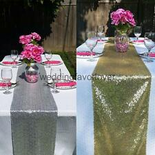 "Gold Silver Sequin Table Runner Wedding Sparkly Bling Party Decor 12"" x 108"""