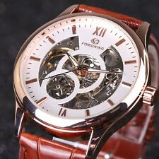 FORSINING Luxury Men Mechanical Skeleton Military Sport Wrist Watch Leather Gift