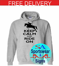 ADULTS AND KIDS HORSE JUMPING KEEP CALM AND RIDE ON  DESIGN HOODIE SIZES S-XL