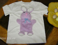 Easter Bunny Rabbit T Shirt 3D Plush Purple Lilac With Bow Size 3T White Top