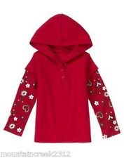 GYMBOREE Girls Shirt ALPINE SWEETIE Size 3 Hooded Layered Top Red NEW