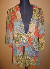 CAbi Shakespeare Style 360 Floral Tie Front Sheer Chiffon Ruffle Top Size M